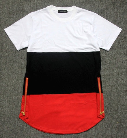 2018 summer style mens t shirts white black red patchwork golden side zipper t shirt streetwear hip hop t shirts extended tees
