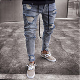 Trend New Skinny Ripped Jeans Men Fashion Ankle Zipper Hole Distressed Jeans Homme Brand Wash Cotton Hip Hop Denim Jeans Pants