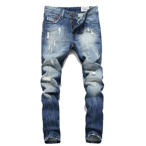 Fashion Vintage Retro Men Jeans Quality Straight Fit Ripped Jeans Slim Denim Men pants Designer Distressed Denim Jeans Homme