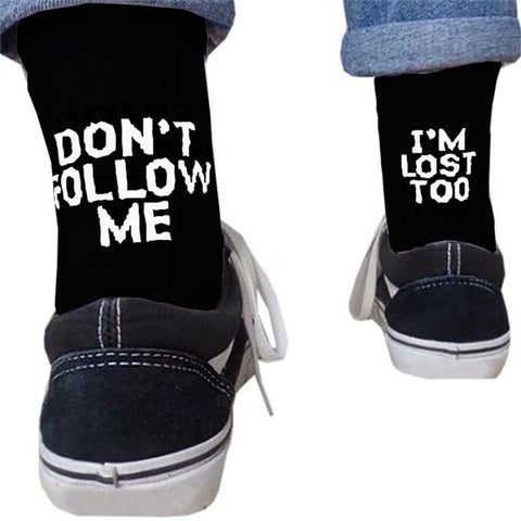 DON'T FOLLOW ME, I'M LOST TOO - Chaussettes de skateboard fun