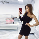 Hugcitar cotton one one shoulder slope long sleeve high waist sexy bodycon dresses 2018 autumn winter women fashion party dress