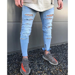 2018 Hip-Hop Men Jeans masculina Casual Denim distressed Men's Slim Jeans pants Biker skinny jeans men rock ripped jeans clothes