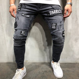 NEW  fashion 2018 men's hole embroidery jeans blue Hip-hop slim men jeans