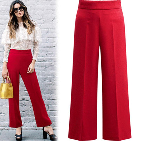2018 Wide Leg Pants Women Elegant OL autumn summer female elastic waist casual work trousers Plus Size 3XL 4XL 5XL drop shipping