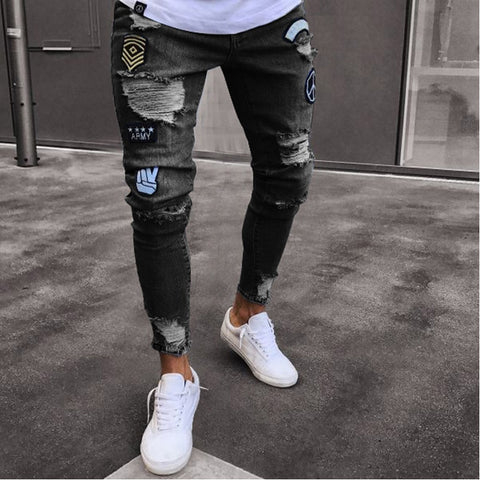 New Black Ripped Jeans Men 2018 Brand Casual Wash Cotton Distressed Jeans Homme Hip Hop Fashion Embroidery Hole Jeans Pants 3XL