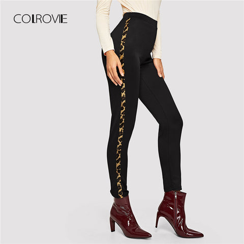 COLROVIE Black Leopard Print Panel Casual Winter Elastic Waist Sports Pants 2018 Autumn Streetwear Trousers Women Skinny Pants