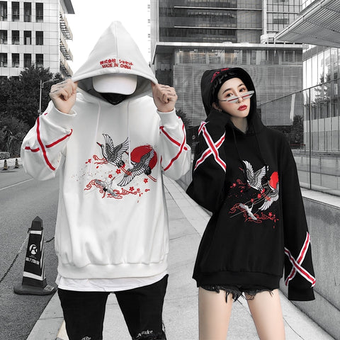 Autumn/winter2018 crane embroidery plus velvet plus thick hooded hoodies men and women lovers loose hip-hop oversize hoodies