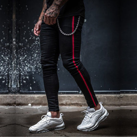 Mens Side Stripe Skinny Fit Black Denim Jeans Hip Hop Streetwear Solid Color Plus Size Slim Fit Lightweight Cotton Jeans for Men
