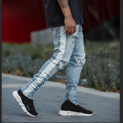 HZIJUE Fitted Bottoms zipper hip hop jeans homme denim new fashion pants men skinny jeans Men streetwear ripped jeans for man