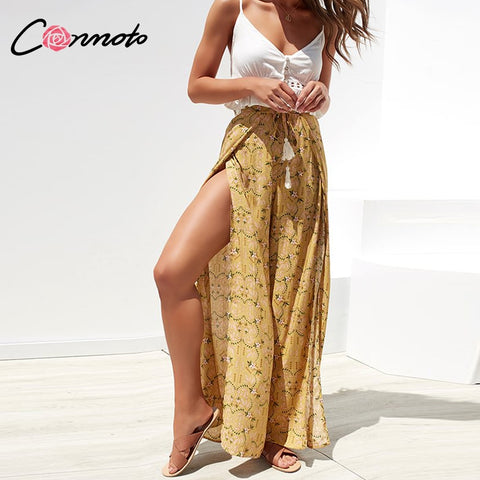 Conmoto Pre-sale Casual High Waist Wide Leg Pants Women 2019 Summer Beach Split Trousers Female Vintage Floral Prints Capris
