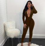 Missufe Long Sleeve V Neck Playsuit Women Sequins Backless Slim Sexy Jumpsuit Autumn Winter Rompers Female Party Overalls Mujer