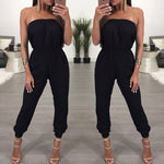Womens Bandage Evening Party Playsuit Ladies Romper Long Jumpsuit Women Ladies Femal Solid Off Shoulder Jumpsuits Size 6 -16