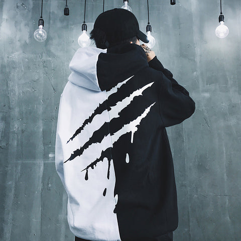 2019 Cool Black White Splice Hoodies Oversize Hip-hop Style Swag Tyga Hoodie Autumn Winter Spring Thick Hoodies Asia Size S-4XL