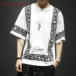 KUANGNAN Harajuku Streetwear White T Shirt Men Fashions Funny Tshirt Men T Shirt Half Sleeve Hip Hop T-Shirt Men 5XL Summer 2019