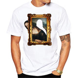 Men New Fashion 3D Effect Mona Lisa T-Shirt Short Sleeve O-neck  Tops Summer Amusing T Shirt Funny Tees Harajuku Streetwear