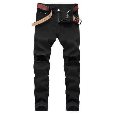 Brand New Black Ripped Jeans Men 2018 Fashion Casual Wash Cotton Skinny Jeans Pants Men Hi Street Hip Hop Distressed Jeans Homme