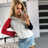 Feitong Fashion Women Autumn Hooded Hoodie Color Block Long Sleeve Sweatshirt Pullover Femme Loose Sweatshirt Clothing 2018