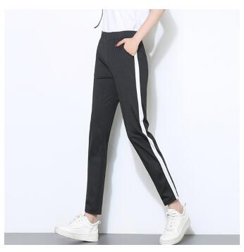 Women Sweatpants 2018 elastic waist female jogger pants black striped women trousers joggers lady casual pantalon black Elastic