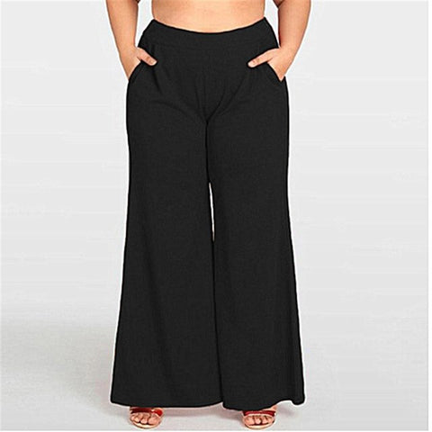 Plus Size Womens High Waist Wide Leg Pants OL Office Loose Stretch Female Solid Color Long Pants High Street Trousers Large Size