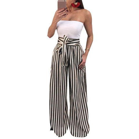 2018 Fashion High Waisted Wide Leg Pants Women Trousers Autumn Elegant Pocket Trousers Casual Striped Bow Tie Drawstring Loose
