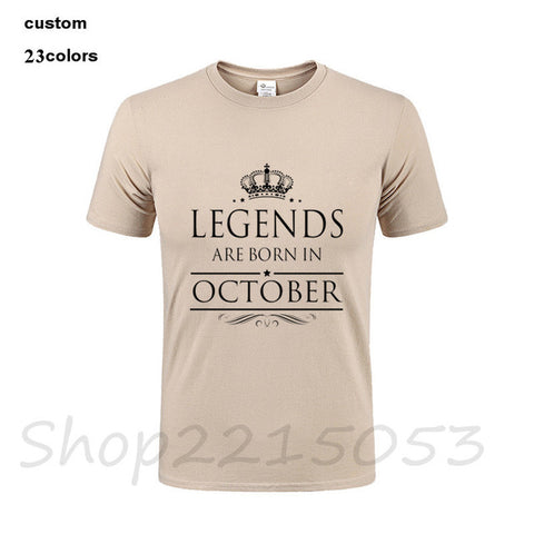 2018 fashion LEGENDS ARE BORN IN OCTOBER Men's streetwear T-Shirt birthday gift father's day cotton male t shirt clothes tshirts