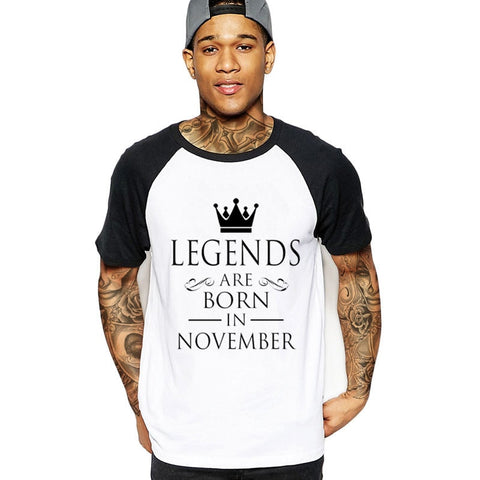 2018 fashion LEGENDS ARE BORN IN NOVEMBER Men streetwear T-Shirt birthday gift father's day cotton male t shirt clothes tshirts