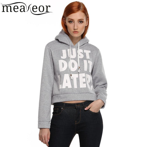 Fashion Black Letter Gray Hoodie Long Print Hooded Sleeve Short Women Casual White