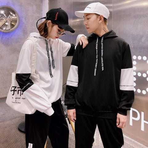 Fashion Casual Men's Hoodie Spring And Autumn New S-3XL Color Matching Loose Pullover Black White Personality Youth Popular