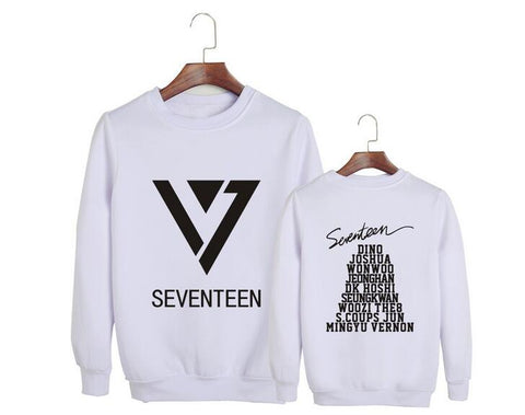 New arrival seventeen all member names printing o neck pullover hoodies for kpop fans supportive unisex sweatshirt black/white