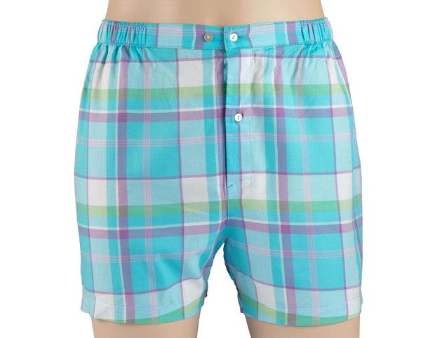 Boxer Shorts - Cotton - Blue Plaids
