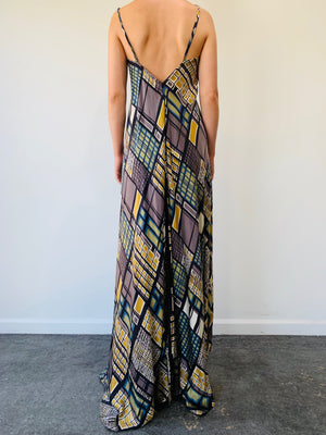 Silk Asymmetrical Maxi Dress