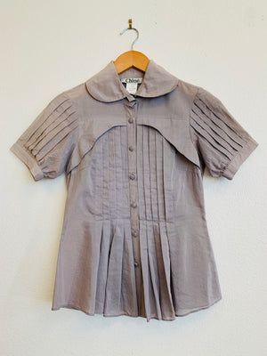 Chloe Gray Pleated Blouse