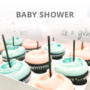 Baby shower blue its a boy and pink its a girl decoration in cupcakes
