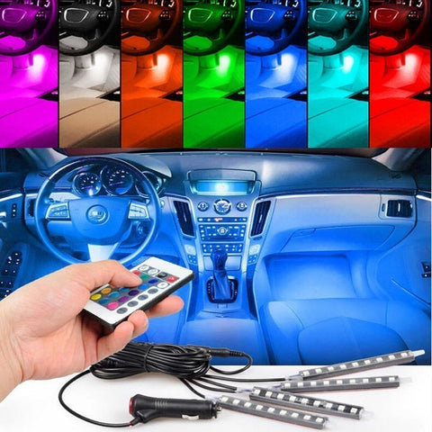 4pcs/set 7 Color LED Car Interior Lighting Kit with Wireless Remote Control