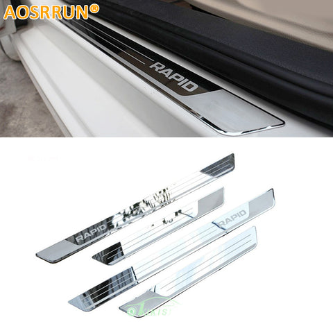 Stainless Steel Door Sill Scuff Plate car accessories Car-styling For Skoda Rapid
