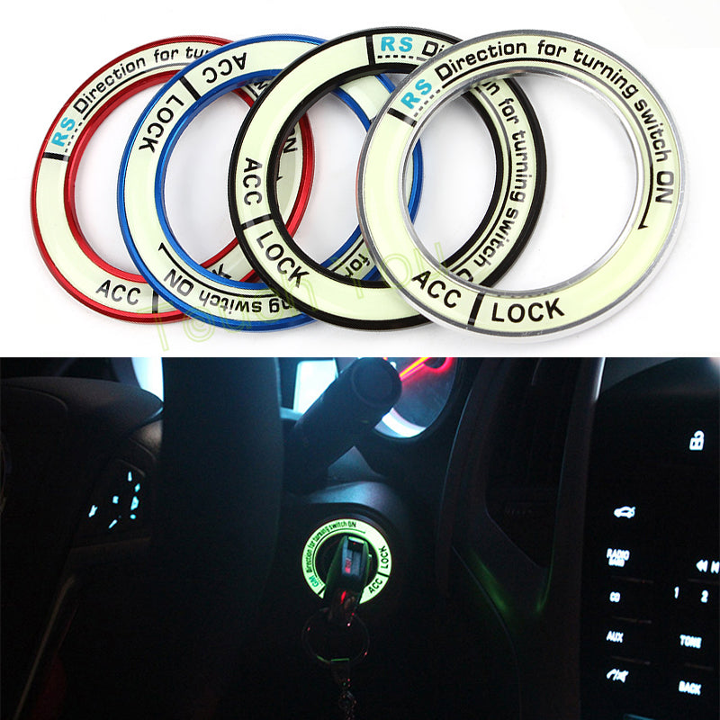 Luminous Alloy Car Ignition Switch Cover Circle Light Decoration