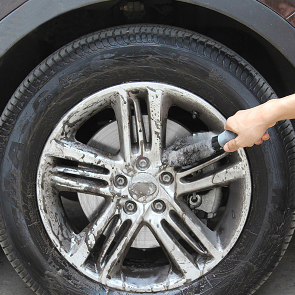 Car Wheel Cleaning Brush in Gray Styling Wash Soft Rubber Grip