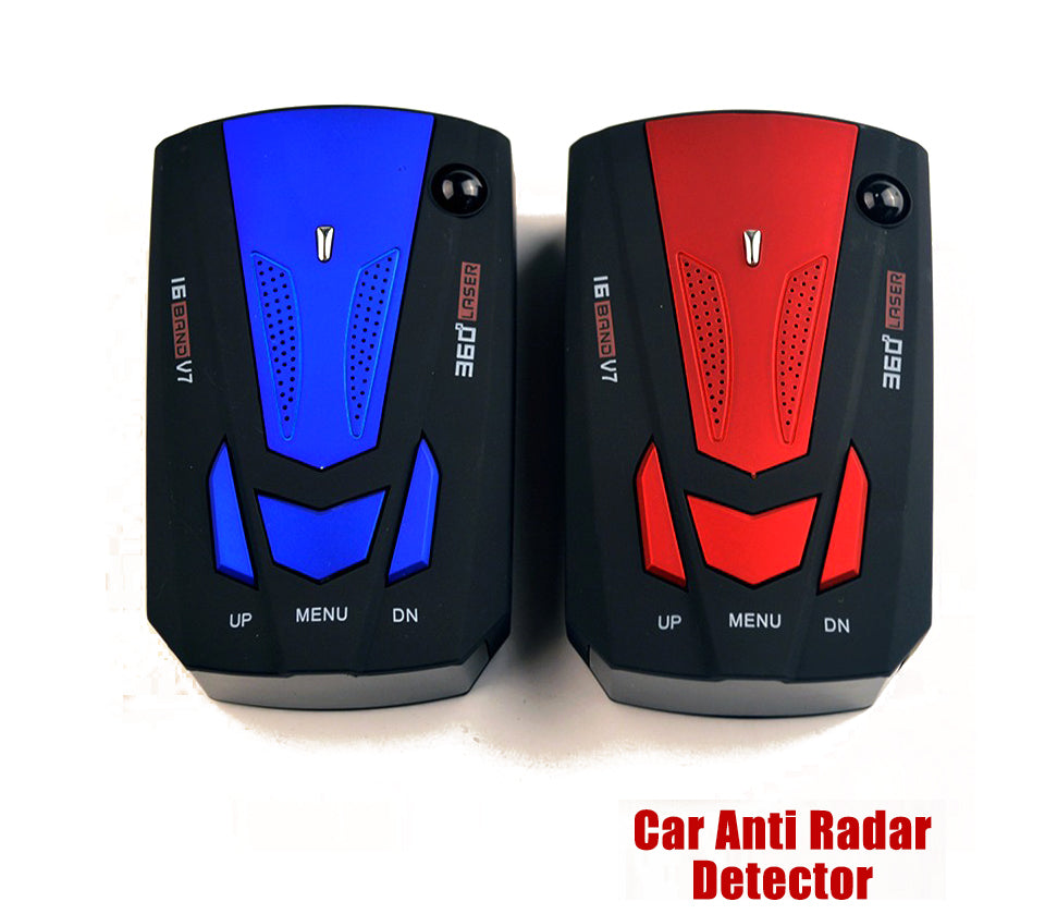 Car Radar Detector English Russian Auto 360 Degree Vehicle V7 Speed Voice Alert Alarm Warning 16 Band LED Display