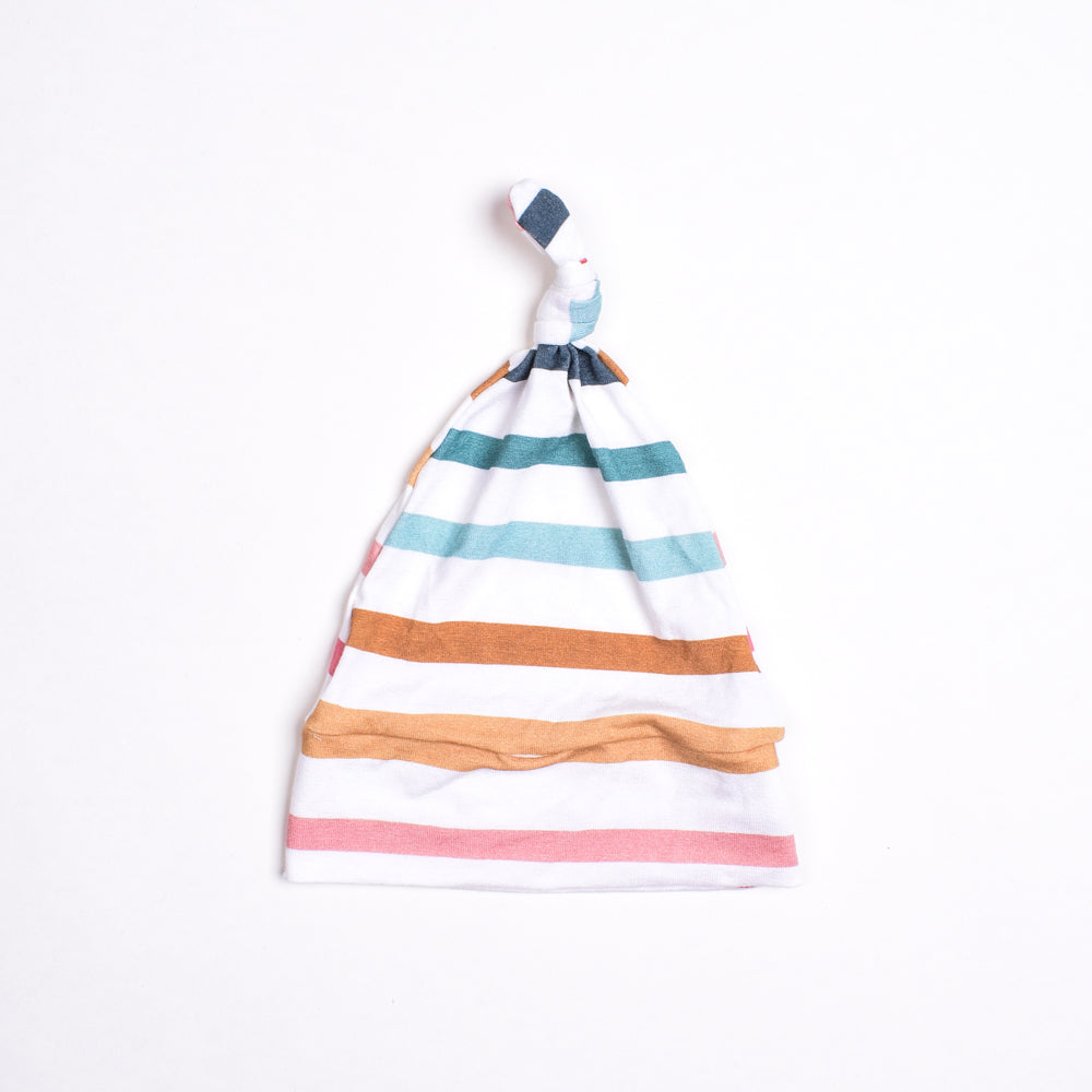 Rainbow Stripe Top Knot Hat