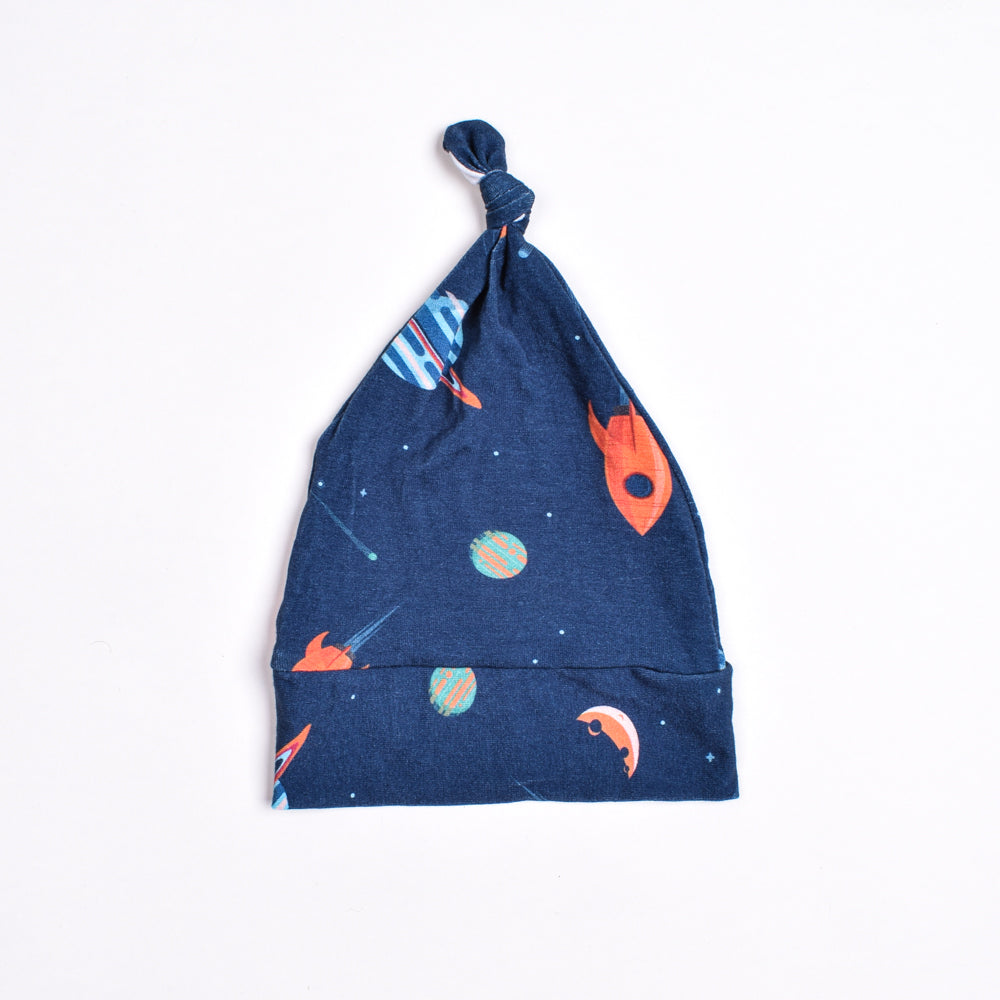 Outer Space Top Knot Hat