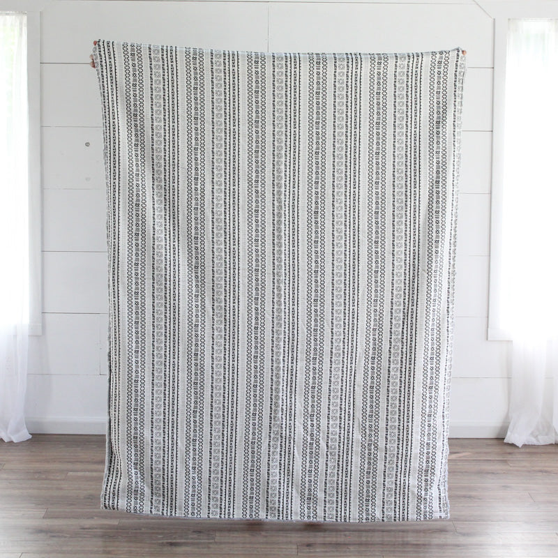 White Geometric Adult Cuddle Blanket