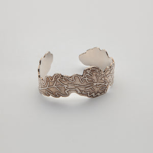 Cuff, sterling silver oak leaf