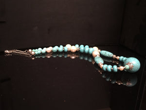 Trellium stunning long chunky turquoise necklace for women in unique design