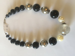 Black Tulip -a stunning black and  silver tone necklace design with large pearls