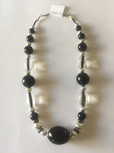 Stunning black necklace with translucent glass beads