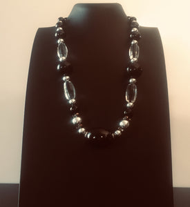 Black Tulip -a stunning black and silver necklace design that is a really impressive