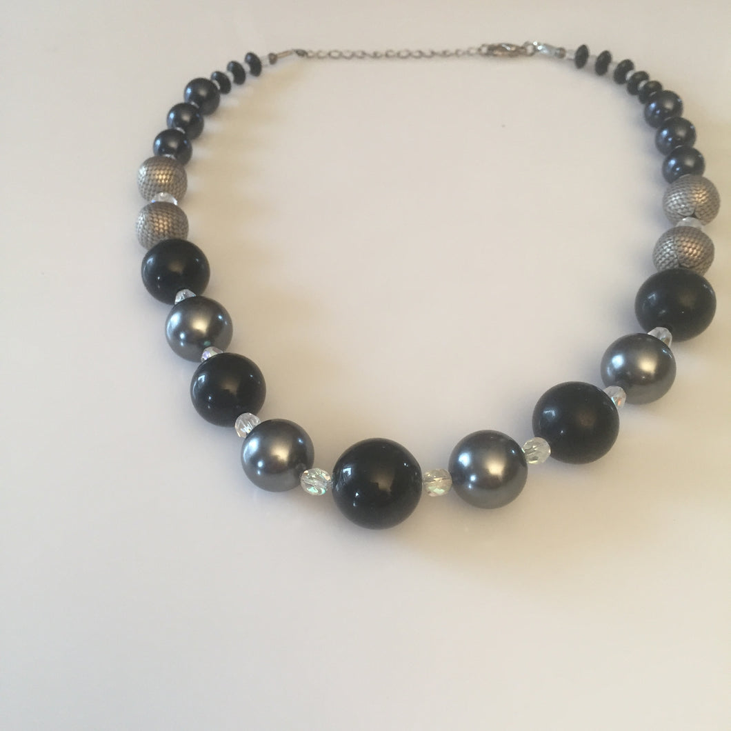Black Tulip grey and black necklace design matinee length