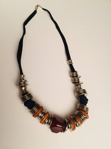 Black Anemone a boho trendy black necklace that is casual and great for jeans