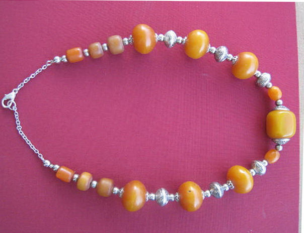 Kehribari a Beautiful amber necklace in warm honey colour with silver,