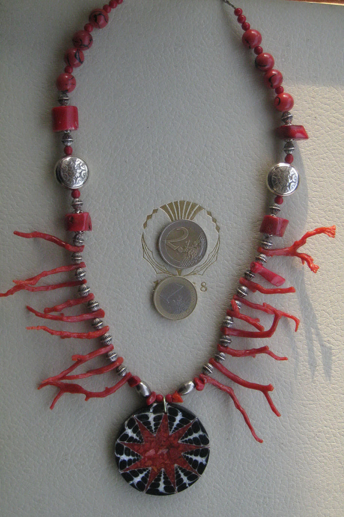 Amaryllis a gorgeous red coral  boho chic necklace for women